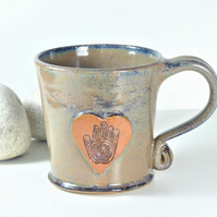 Hand of Hamsa Mug - Handmade Wheelthrown Stoneware Pottery