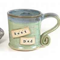 Best Dad Mug - Handmade Wheelthrown Stoneware Pottery UK