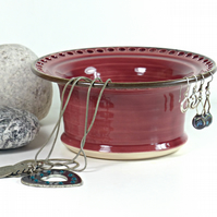 Damask Rose Ceramic Jewellery Bowl to display earrings, bracelets, bangles.