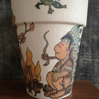 Indian Summer, hand decorated plant pot.