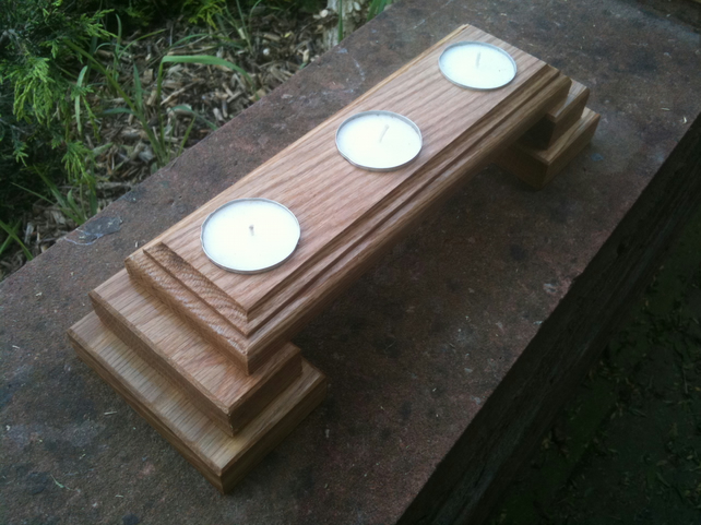 OAK TEA LIGHTS-'3 LIGHT BRIDGE'