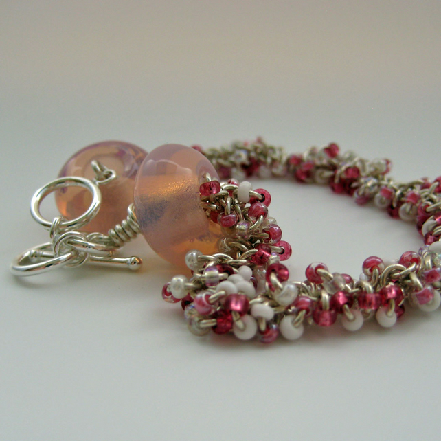 Pink Beaded Chainmaille Bracelet