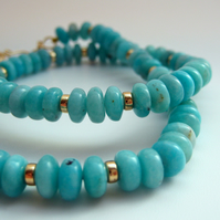 Aqua and Gold Necklace