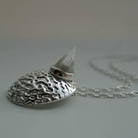 Funky Planet Silver Necklace with Crystal Quartz Spike