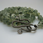 Green Prehnite Fully Knotted Stone Necklace with Oxidised Silver Handmade Clasp