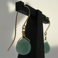 Aqua and Gold Amazonite and Gold Filled Earrings