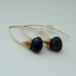 Lapis and Gold Almond Shape Earrings