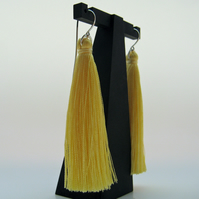 Mallow Yellow Silky Long Tassel and Sterling Silver Earrings