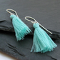 Aqua Green and Sterling Silver Tassel Earrings