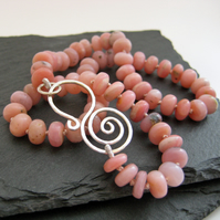 Pink Opal Gemstone Necklace with Handmade Curled Silver Clasp