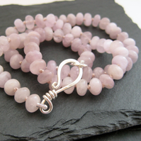 Lilac Kunzite Knotted Necklace with a Handmade Sterling Silver Fish Hook Clasp