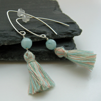Pale Aqua Amazonite and Tassel Silver Earrings