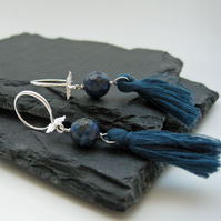 Deep Blue Lapis Angel Wing Tassel Earrings on Sterling Silver
