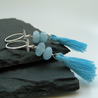 Blue Aquamarine Angel Wing Tassel Earrings on Sterling Silver