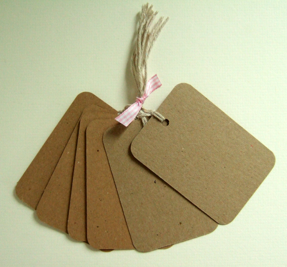 Card Gift Tags Bundle, Large Rectangular Shape Message Tag, pack of 6