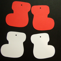 Card Gift Tags, Christmas Stocking Shapes 30 pack, Red & White.