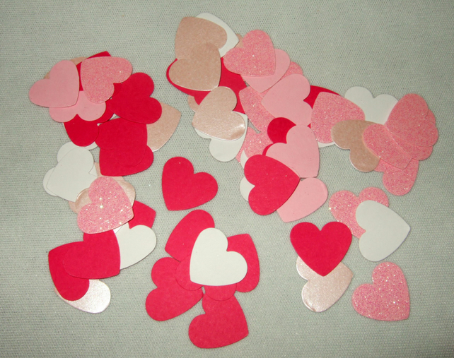 Heart Shapes 100pk, assorted shades of pink, assorted card finishes
