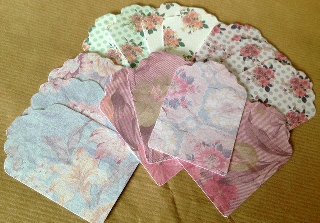 Card Gift,Message Blank Tags,Pack of 100,Handmade Tags,Vintage Florals