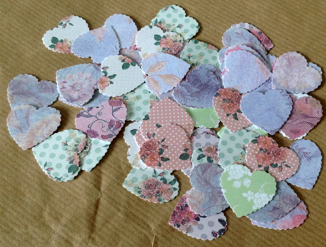Vintage Floral Scalloped Heart Card Shapes 100pk
