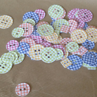 Gingham Print Card Buttons Various Colours 100pk