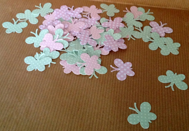 Dotty Butterflies Card Shapes in Pink and Green - 100pk