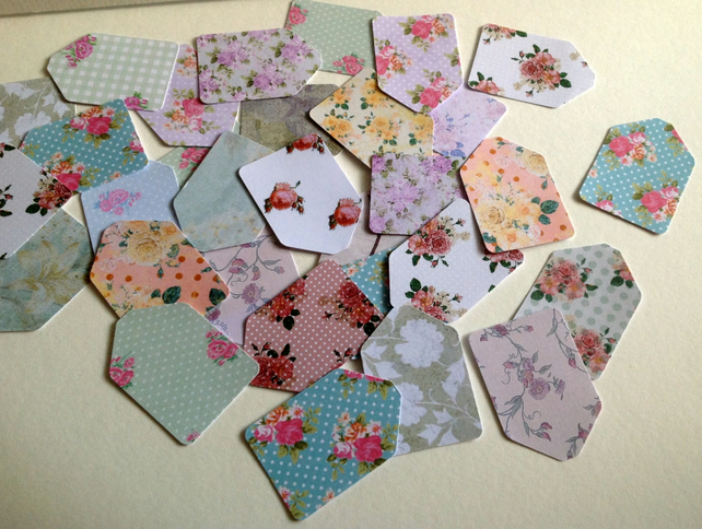 Card Mini Gift,Message Tags, Vintage Florals Printed Card, 100pk