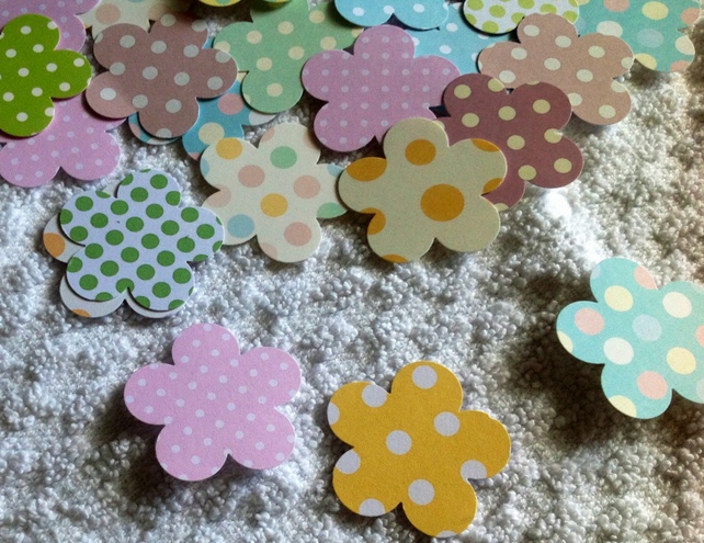 Card, Punched Blossom Flower Shapes Dotty Pattern, 100 pack