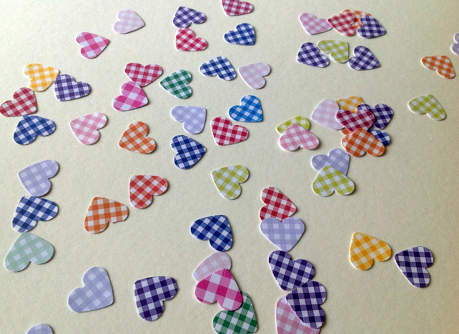 Card Mini Heart Shapes, Gingham Printed Card, Various Colours, 100pk
