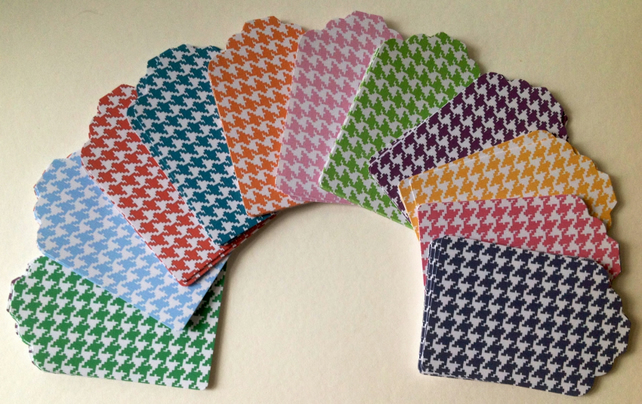 Card Gift,Message Blank Tags,Pack of 100,Handmade Tags,Houndstooth Print
