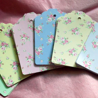 Card Gift,Message Blank Tags,Pack of 30,Handmade Tags,Dainty Florals