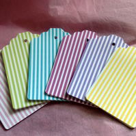 Card Gift,Message Blank Tags,Pack of 30,Handmade Tags,Candy Stripes