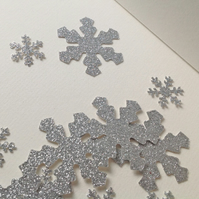 Christmas Shapes, Silver Glittered Snowflake Mix 100pk, Card Craft Shapes