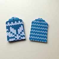 Knit Design Blank Gift Tags,30 pk Two Designs,Handmade Name,Message Tags