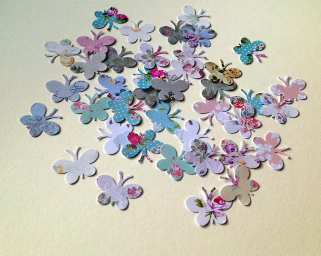 Card Butterfly Shapes,Vintage Floral Printed Butterfly Shapes,100pk