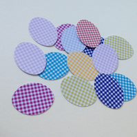 Card Egg Shapes for Paper&Card Crafts,Assorted Colours of Gingham Print,100pk