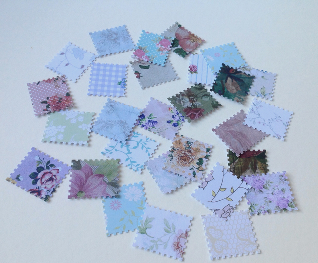 Card Shapes for Craft,Vintage Floral Print,Postage Stamps,100pk