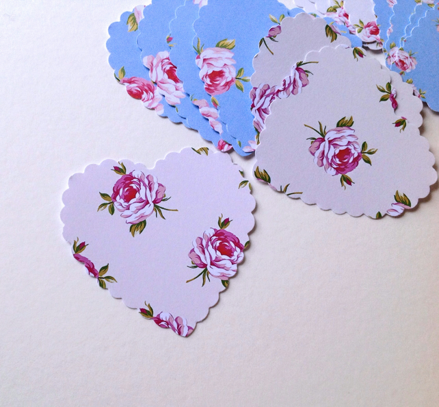 Card Heart Shapes,Large Scalloped Hearts,Shabby Chic Rose Print,30pk.