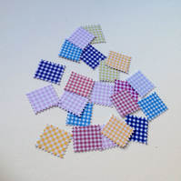 Card Shapes for Craft,Gingham Print Postage Stamps,Varied Colours,100pk