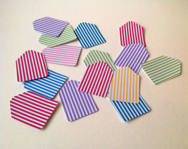 Small Card Gift Tags,Candy Stripes,Mini Message Tags,100pk Various Colours