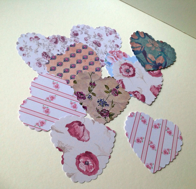 Card Heart Shapes,Large Scalloped Hearts,Assorted Vintage Floral Prints,30pk