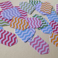 Small Card Gift Tags,Chevron Print,Assorted Colours,100pk
