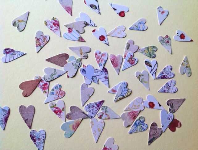 Card Shapes For Craft,Tiny Modern Hearts,Assorted Vintage Floral Prints,100pk