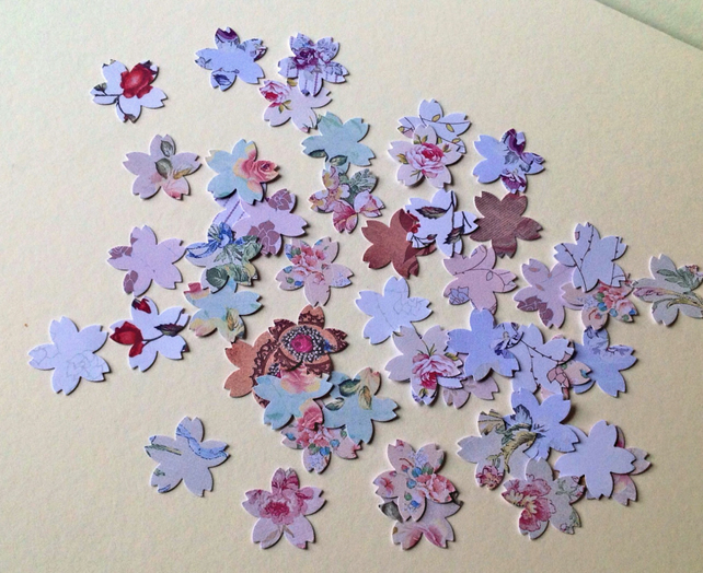 Card Shapes For Craft,Cherry Blossom Shape,Assorted Floral Printed Card,100pk
