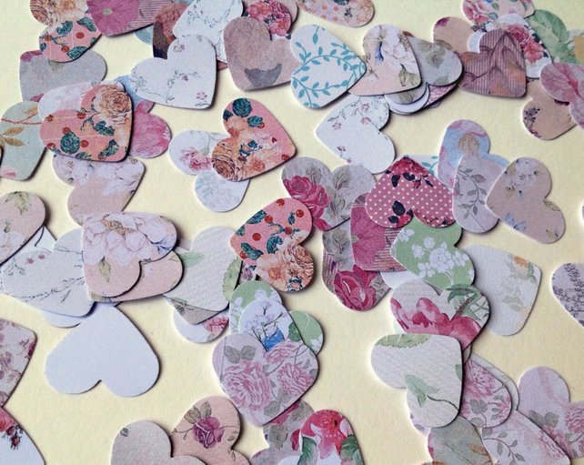 Card Craft Shapes,Standard Small Hearts,Assorted Floral Prints,100pk