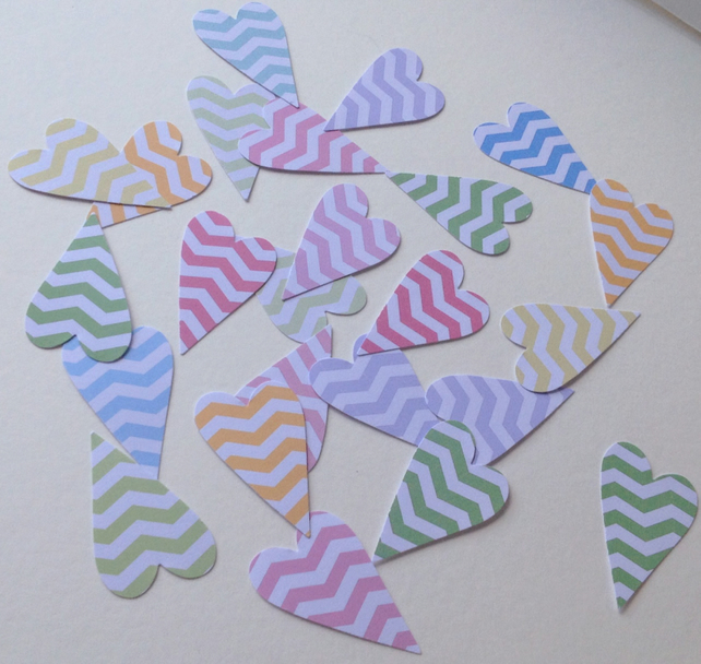 Card Shapes For Craft,Modern Heart, Assorted Colours Chevron Print,100pk