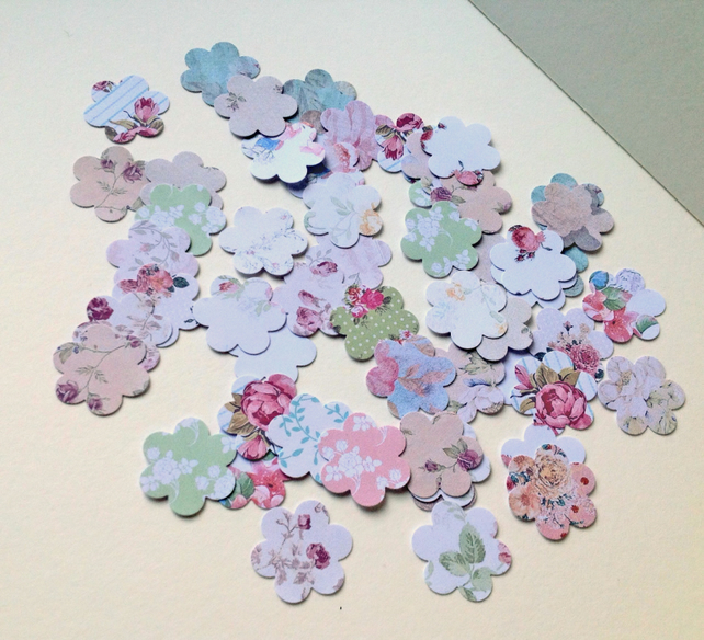 Card Shapes For Craft Small Blossom Flower Shape,Vintage Floral Prints,100pk
