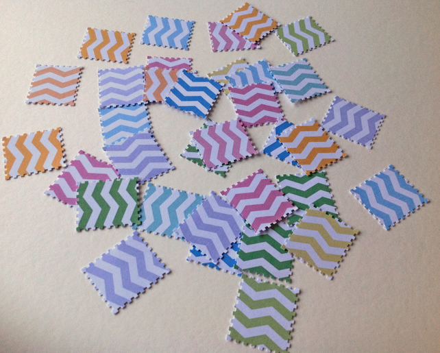 Card Shapes For Craft,Postage Stamps,Chevron Print in Assorted Colours,100pk