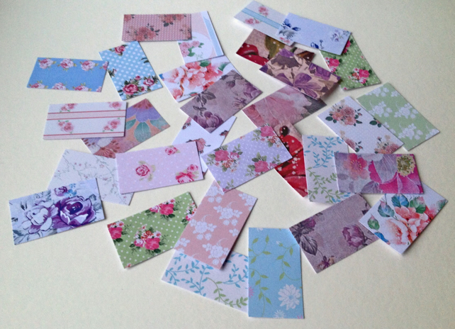Card Shapes For Craft,Rectangles In Assorted Vintage Floral Prints,100pk
