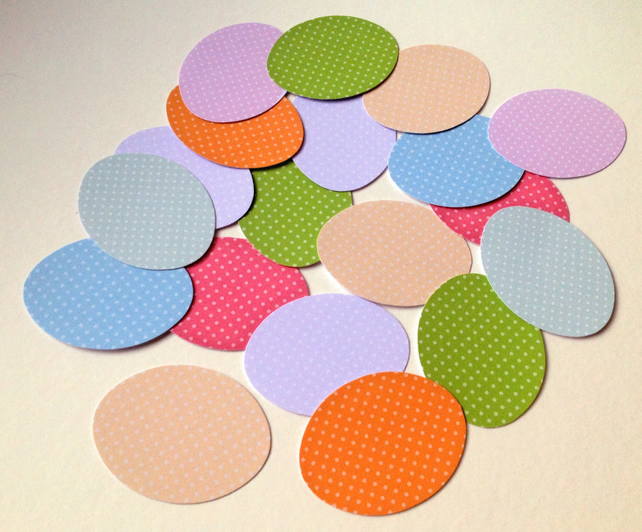 Card Egg Shapes for Craft,Assorted Colours of Polka Dots,100pk