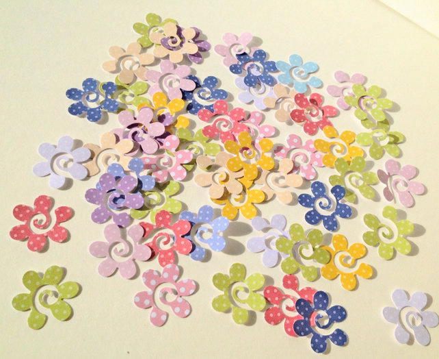 Card Chapes for Craft,Swirly Flower in Polka Dots,Assorted Colours,100pk